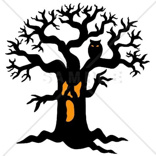 Spooky Halloween Tree Counted Cross Stitch Pattern.