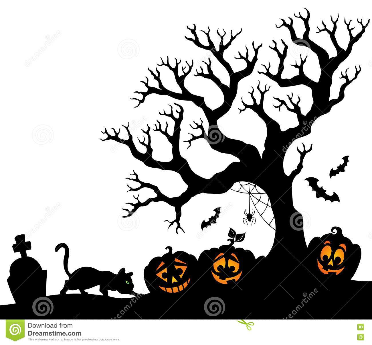 halloween tree silhouette clipart - Clipground