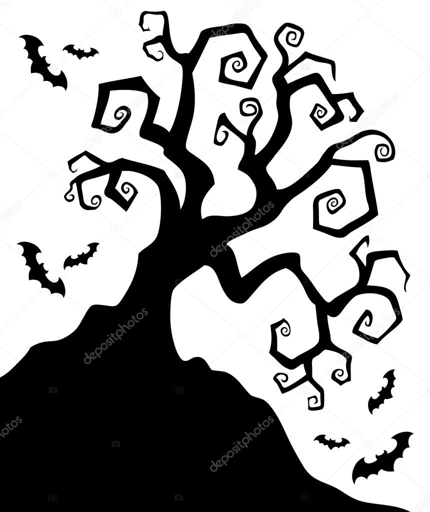 Halloween tree silhouette clipart clipground for Creepy trees for halloween