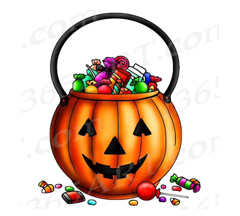 50% OFF Halloween Clipart, Trick Or Treat Clipart, Trick Or Treat Bag,  Halloween Digital Stamp, Halloween Coloring Page, Print, Graphic, PNG.
