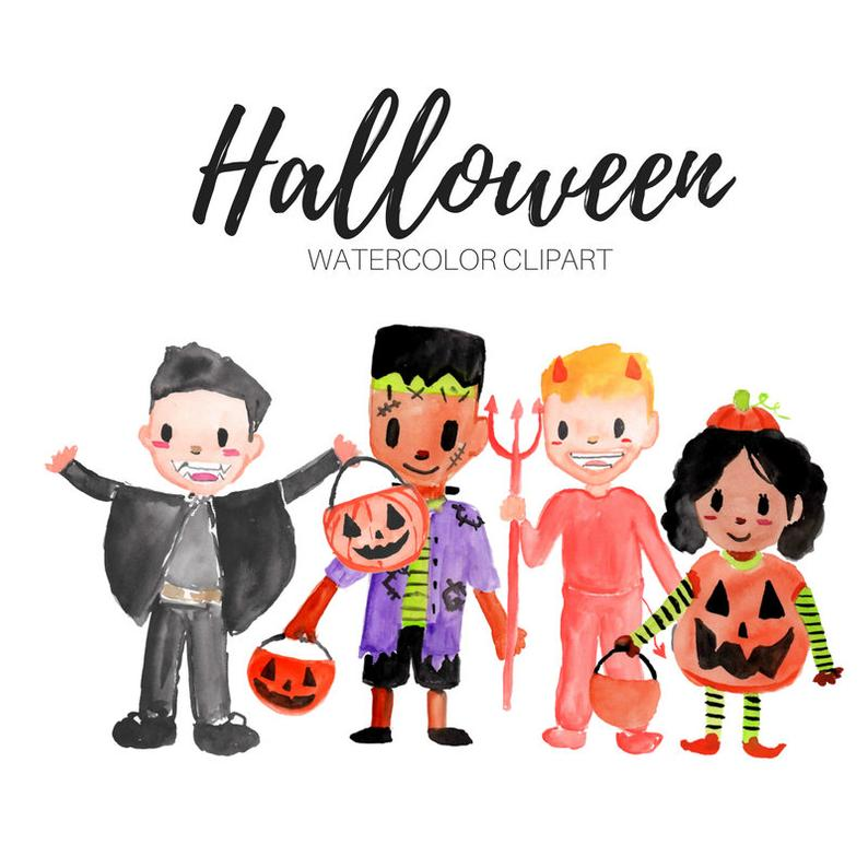 Watercolor Halloween clipart, trick or treaters, childern,kids, costumes,  commercial use.