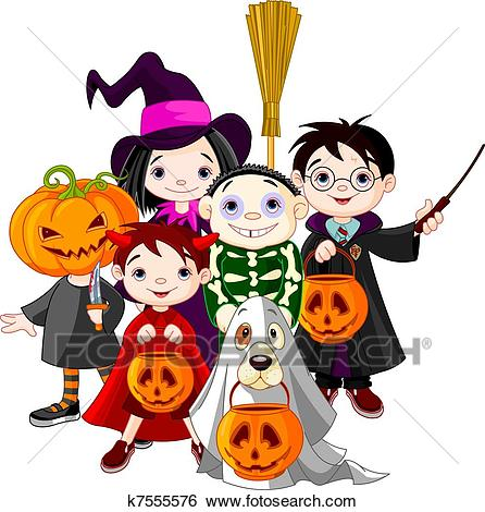Halloween trick or treating childr Clip Art.