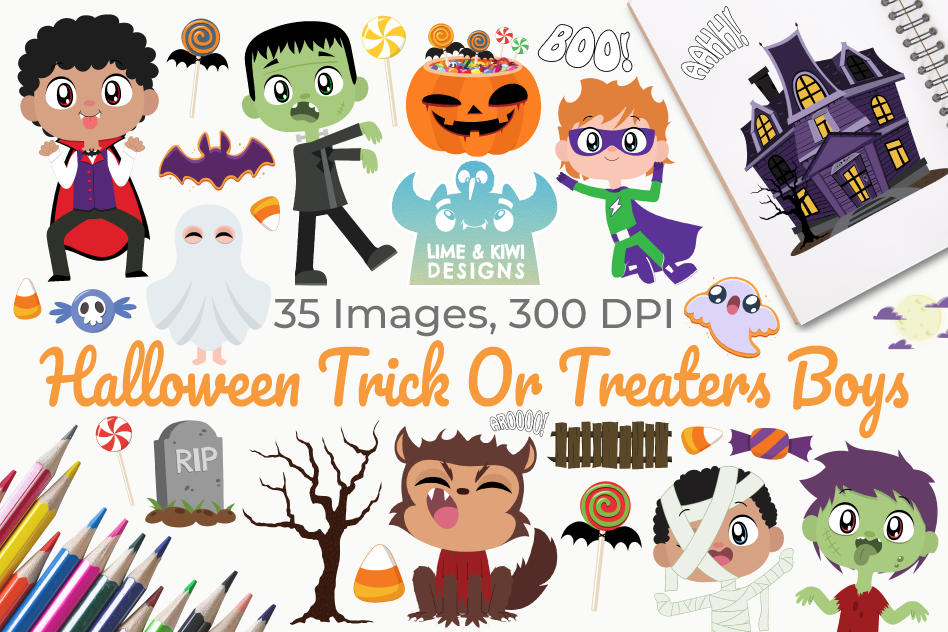 Halloween Trick Or Treaters Boys Clipart, Instant Download.