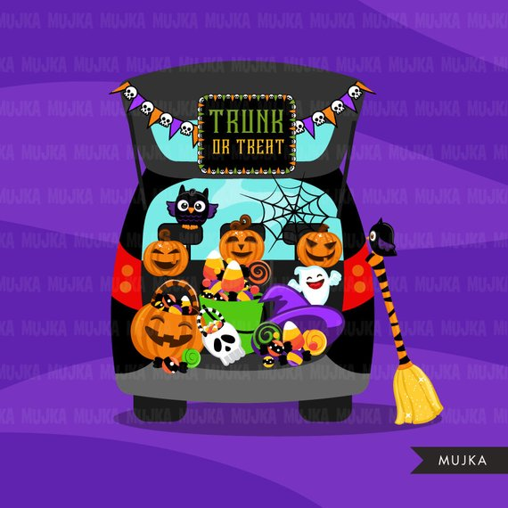 Halloween Trunk or treat clipart. Trick or Treat graphics.