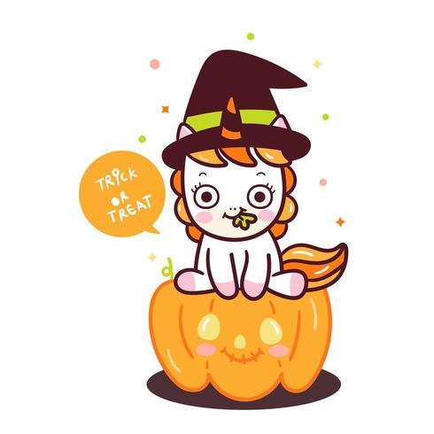 Cute Halloween Unicorn Pumpkin.