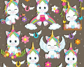 Halloween clipart, cute Halloween Unicorn clipart, Baby.