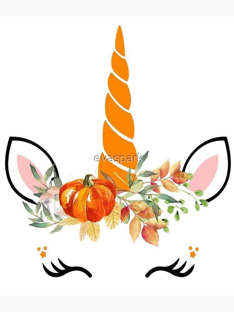 Halloween Unicorn Pumpkin Face T.