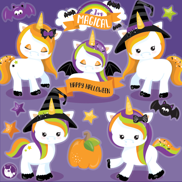 Unicorn Halloween Clipart.