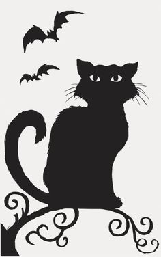 Halloween Black Cat Silhouette Pattern.