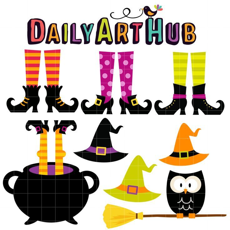 Witch Feet and Hats Clip Art Set.