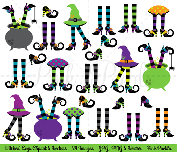 Halloween Clipart, Witches Legs Clip Art, Witches Feet Clipart, Witch Legs.