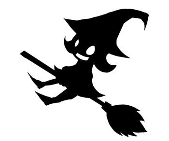 Cute Halloween Witch Silhouette Clip Art #2.