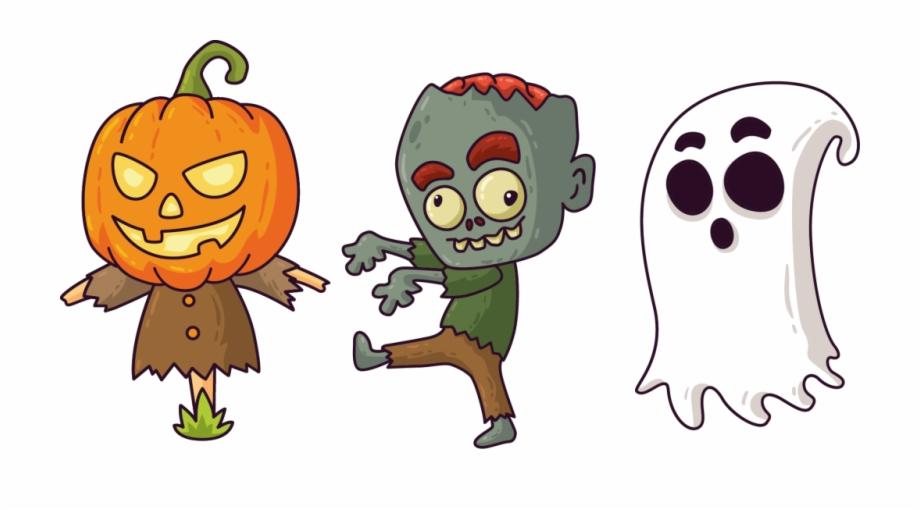 Scarecrow Zombie Ghost Personajes De Halloween.