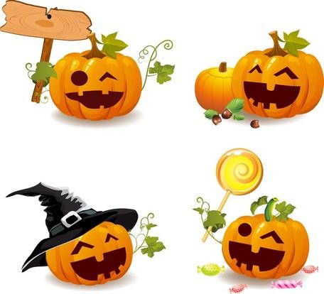 Smile And Happy Halloween Pumpkins, Vector Graphic.