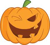 Winking Pumpkin Clip Art.