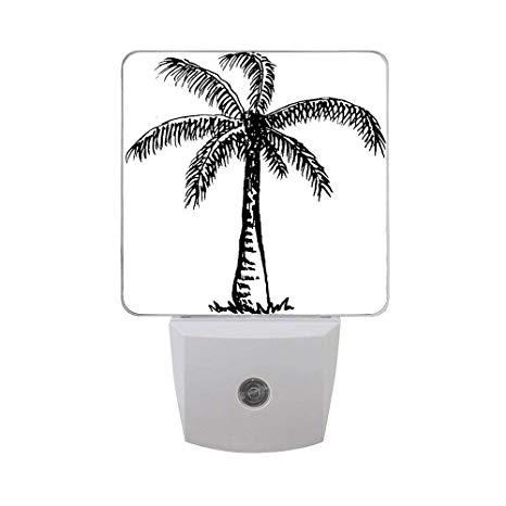 Tree Clipart Black and White Plug in Night Light, Decor.