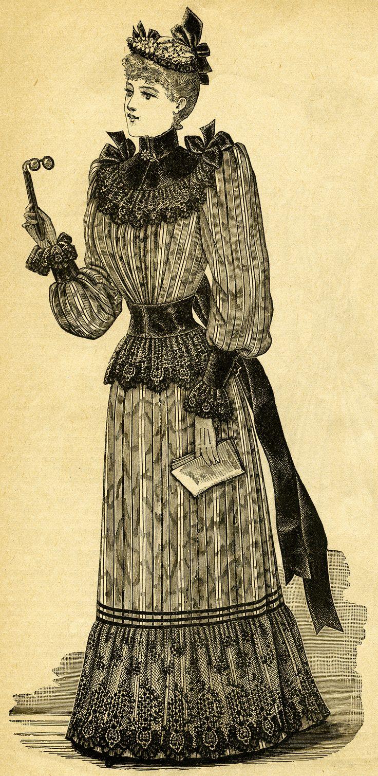 Victorian lady, black and white clip art, Victorian fashion image.
