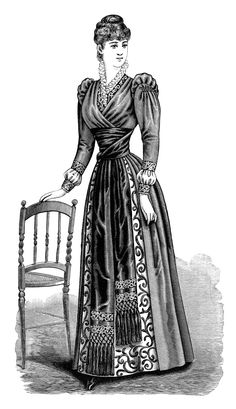 Victorian lady, black and white clip art, Victorian fashion image.