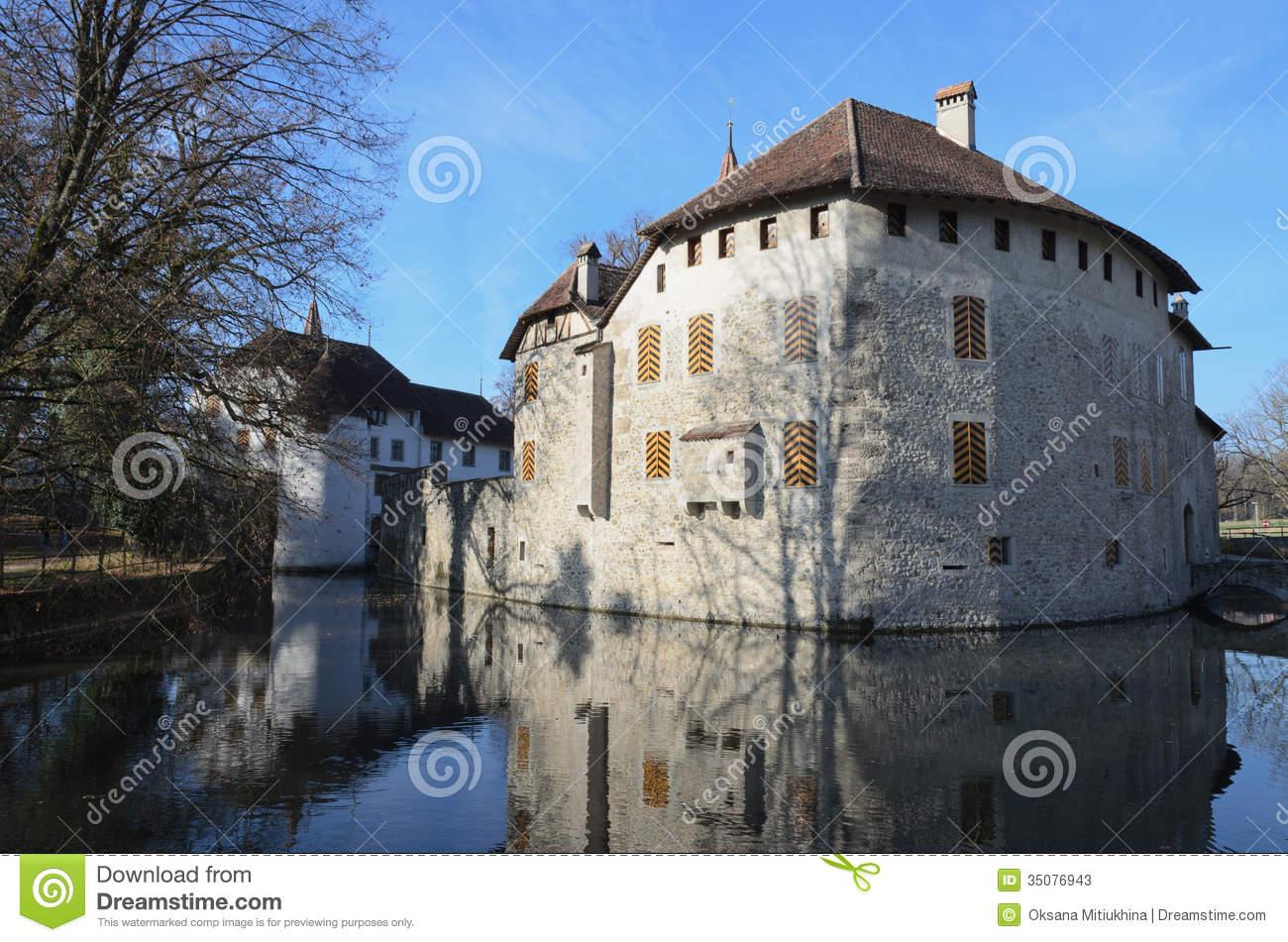 Hallwyl Castle On The Lake Hallwil. Stock Photos.