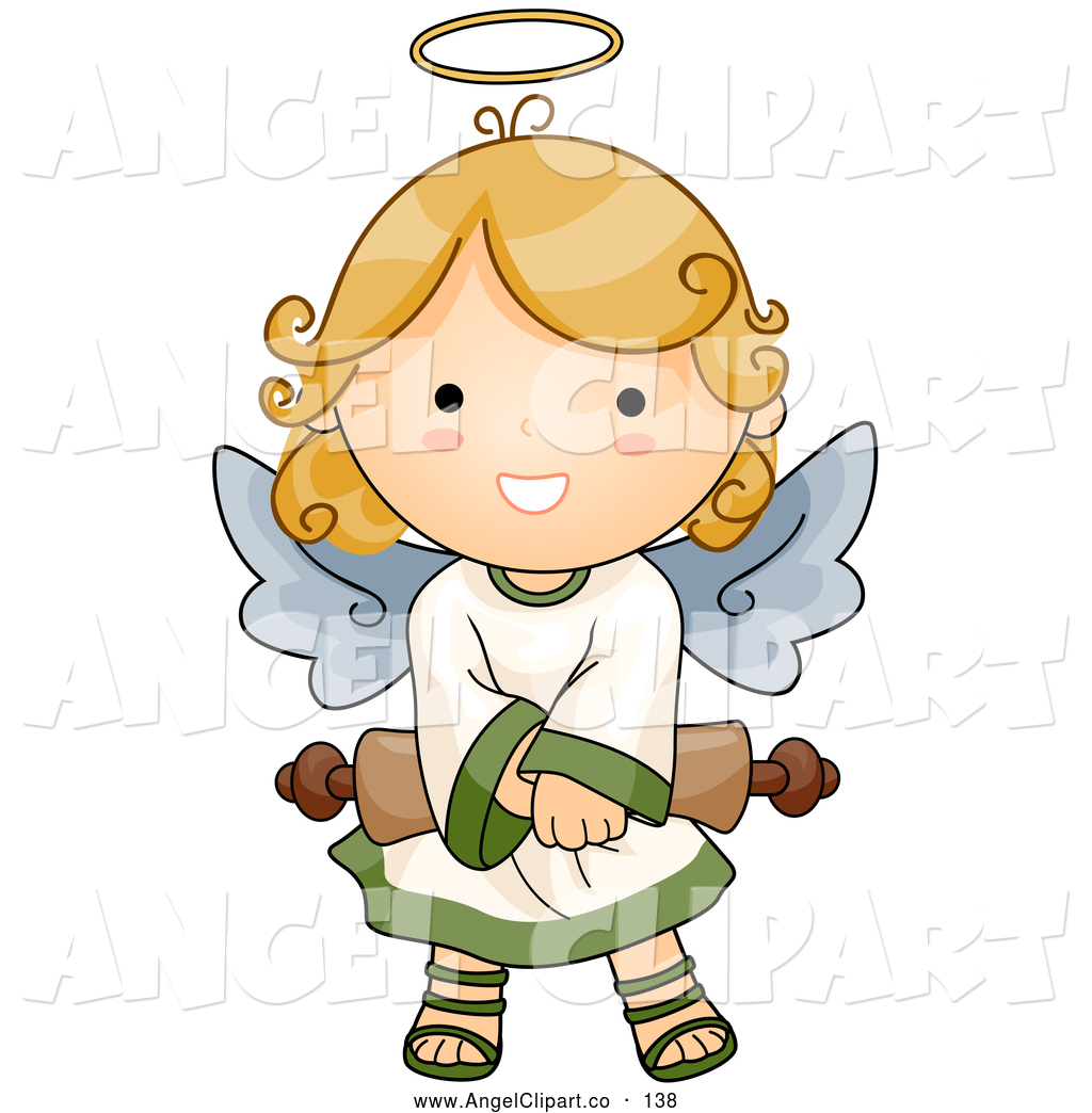 Clip Art of a Cute Angel Girl with Halo Holding a Scroll by BNP.