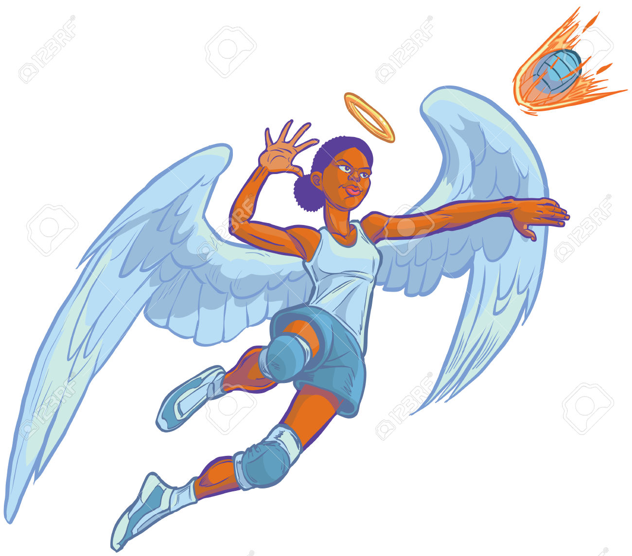 Cartoon Clip Art Illustration Of An African American Girl Angel.
