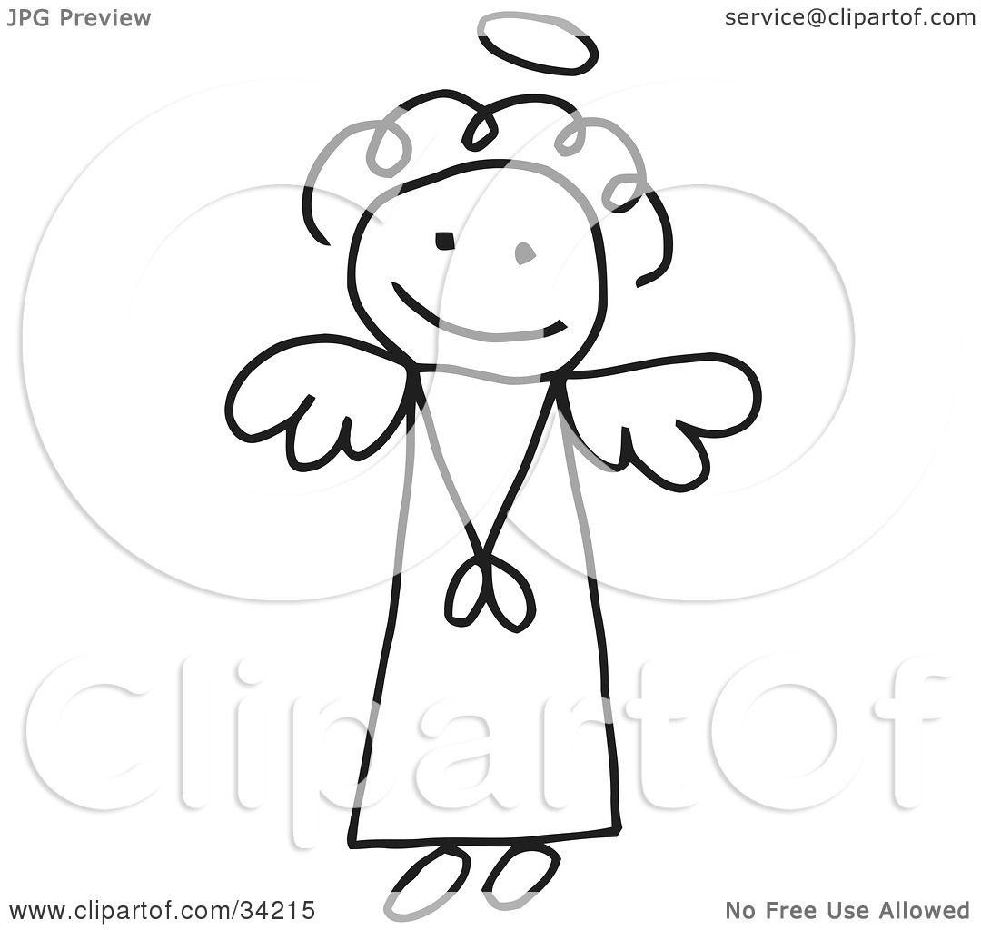 Clipart Illustration of an Innocent Flying Stick Angel Girl With A.