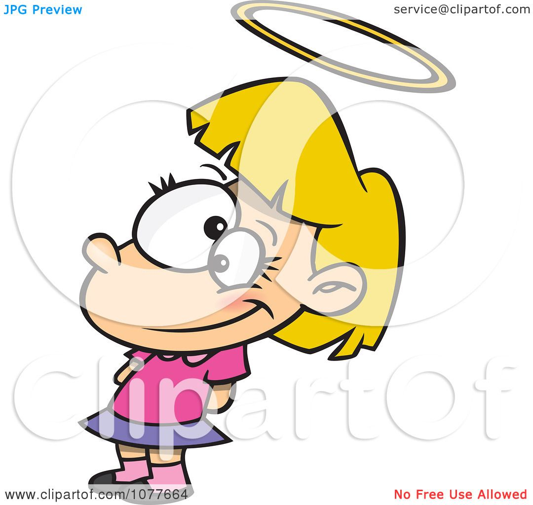 Clipart Innocent Angelic Girl With A Halo.
