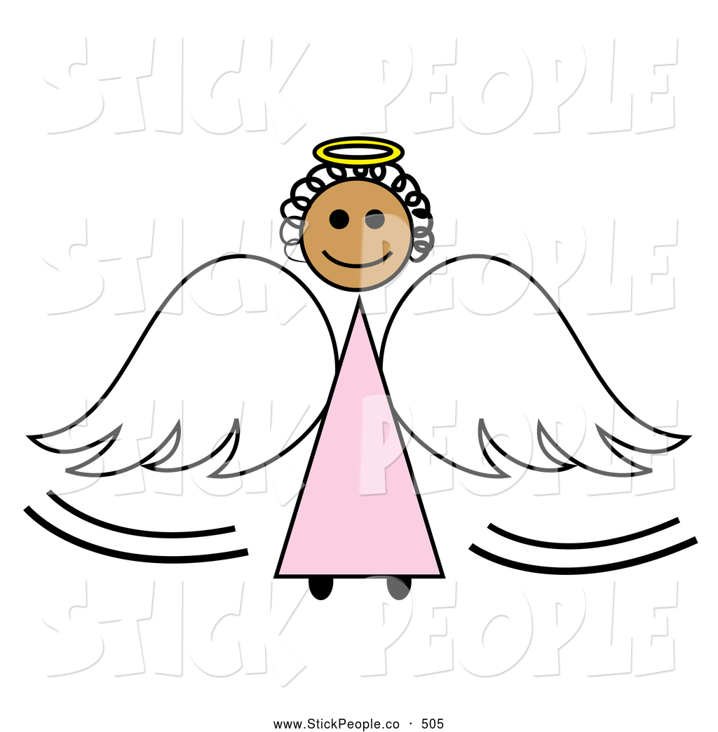 Vector Graphic of a Black Stick Angel Girl with a Halo and Wings.