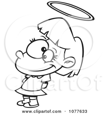 Clipart Outlined Innocent Angelic Girl With A Halo.
