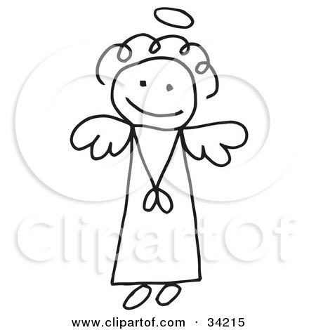 Clipart Illustration of a Cute Flying Female Stick Angel With A.