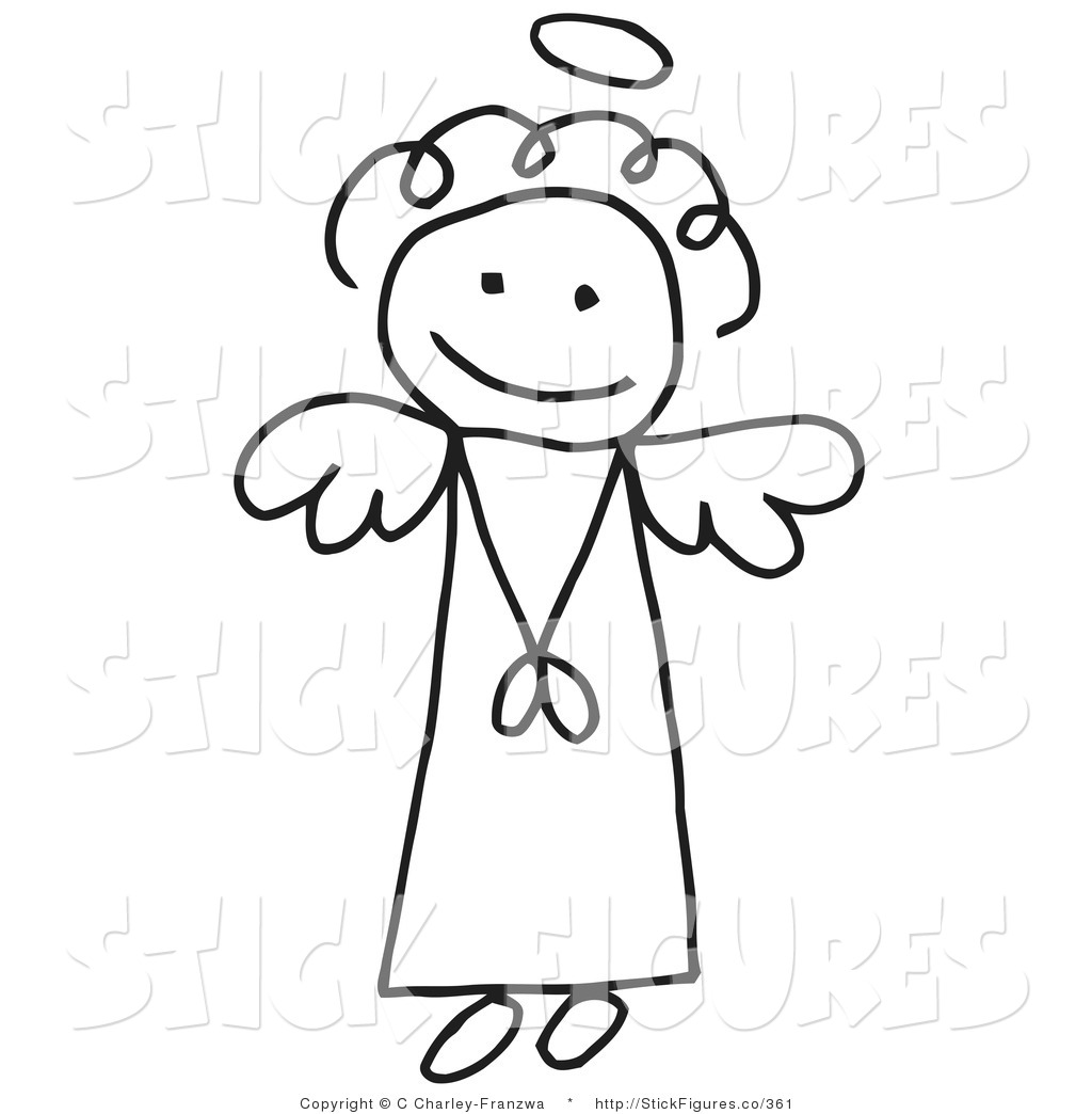 Illustration of a Sweet Stick Angel Girl with a Halo by C Charley.