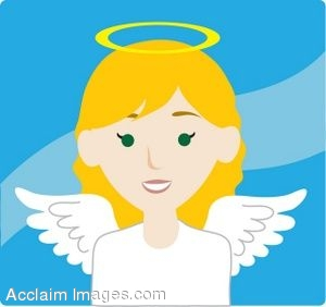 Clip Art Icon of a Blond Haired Angel.