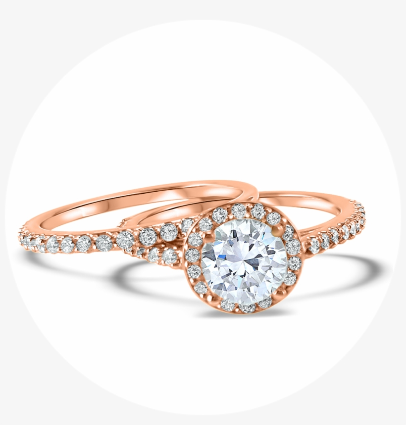 Rose Gold Halo Diamond And Moissanite Engagement Ring.