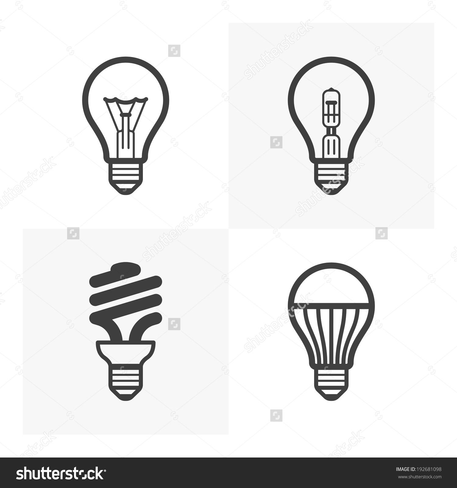 Various Light Bulb Icons Standard Halogen Stock Vector 192681098.