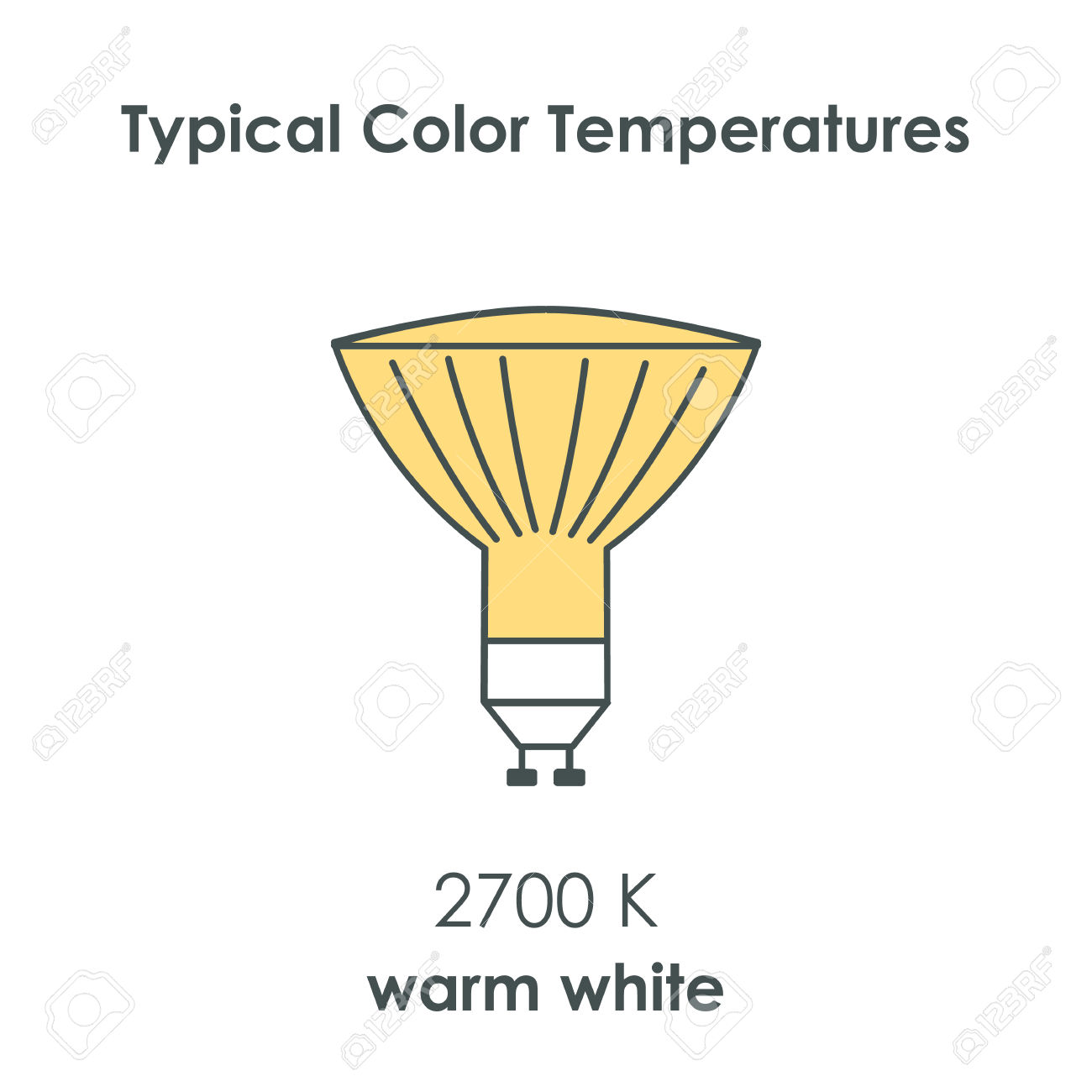 Halogen Light Yellow Bulb With Color Temperature. Vector.