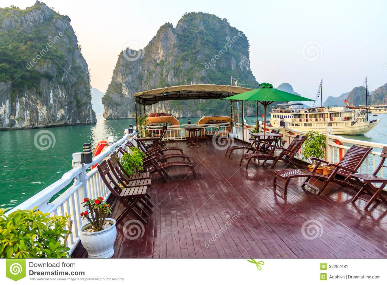 Tourist Boat On Halong Bay Stock Image.