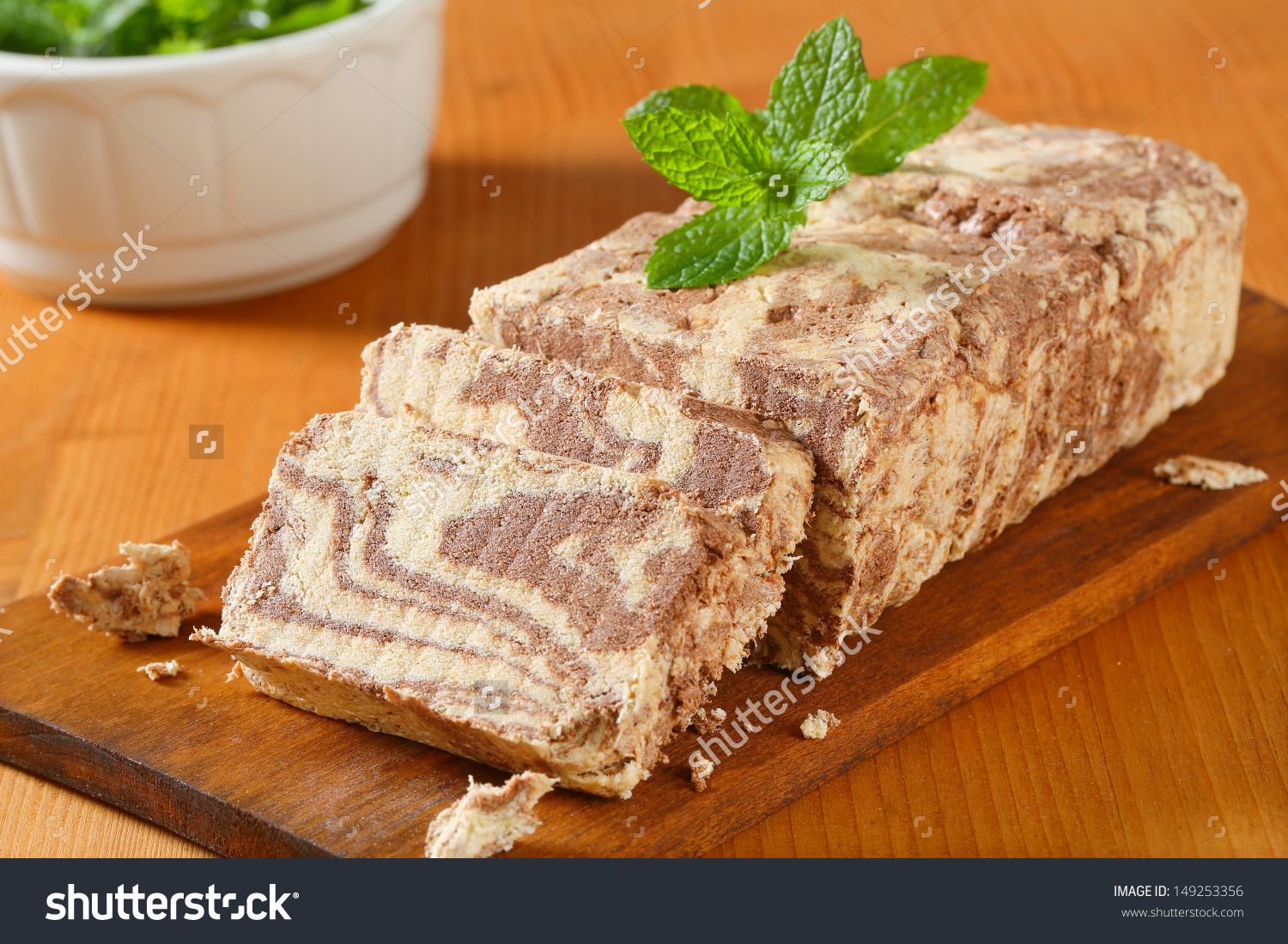 Slice Chocolate Greek Halva On Cutting Stock Photo 149253356.