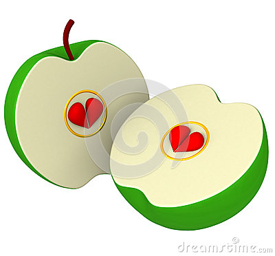 Two Apple Halves Stock Photography.
