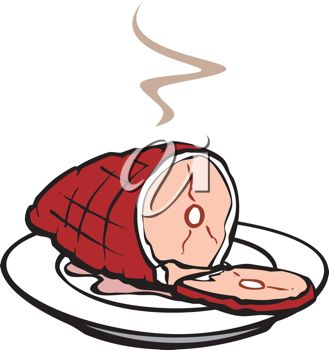 Picture of a Steaming Ham On a Plate In a Vector Clip Art.