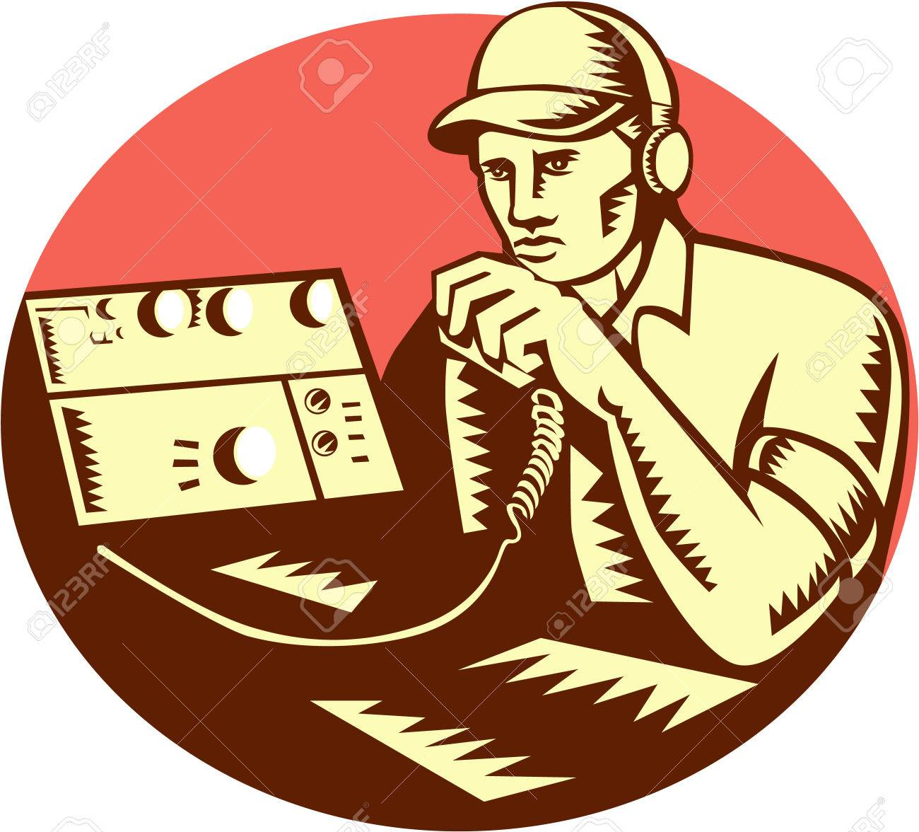 Illustration of a ham radio operator with headset and talking...