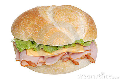 Ham And Cheese Sandwich On A Bun Isolated Royalty Free Stock Image.