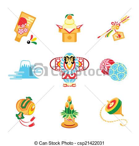 Vectors of Japan New Year symbols.