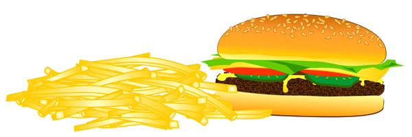 French Fries and a Hamburger.