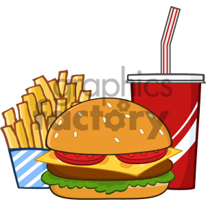 Fast Food Hamburger Drink And French Fries Cartoon Drawing Simple Design  Vector Illustration Isolated On White Background clipart. Royalty.