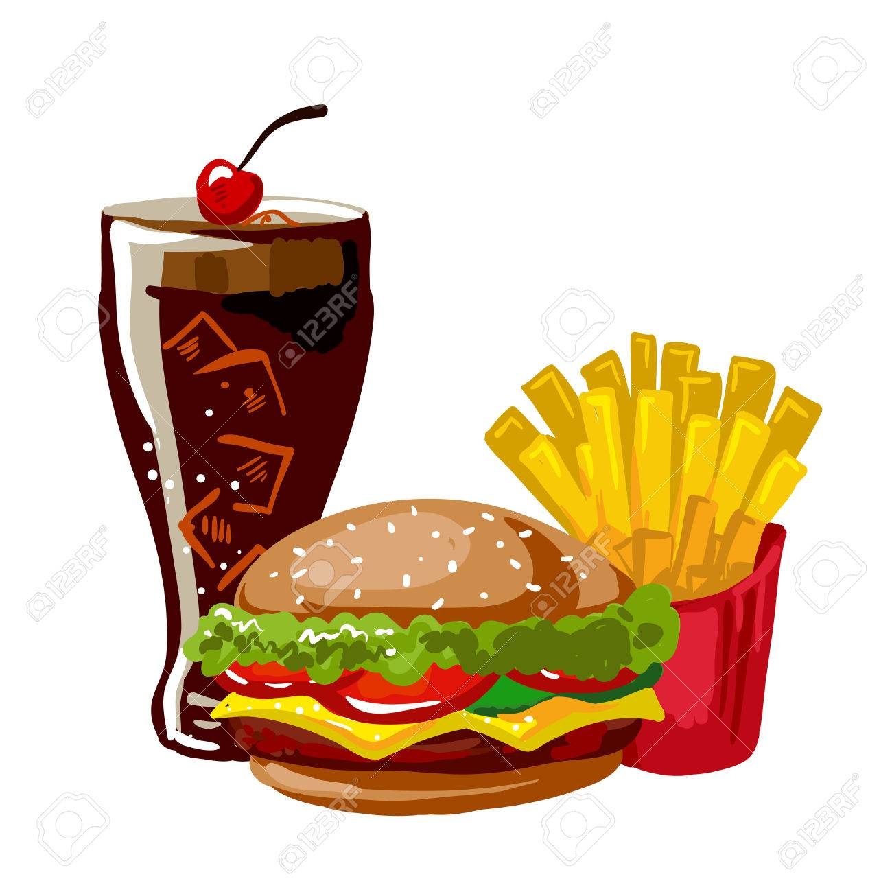 Hamburger or cheeseburger, french fries and glass with cola.