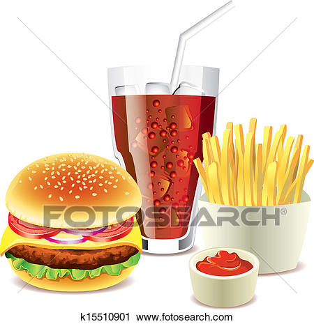 Hamburger, cola and french fries Clipart.