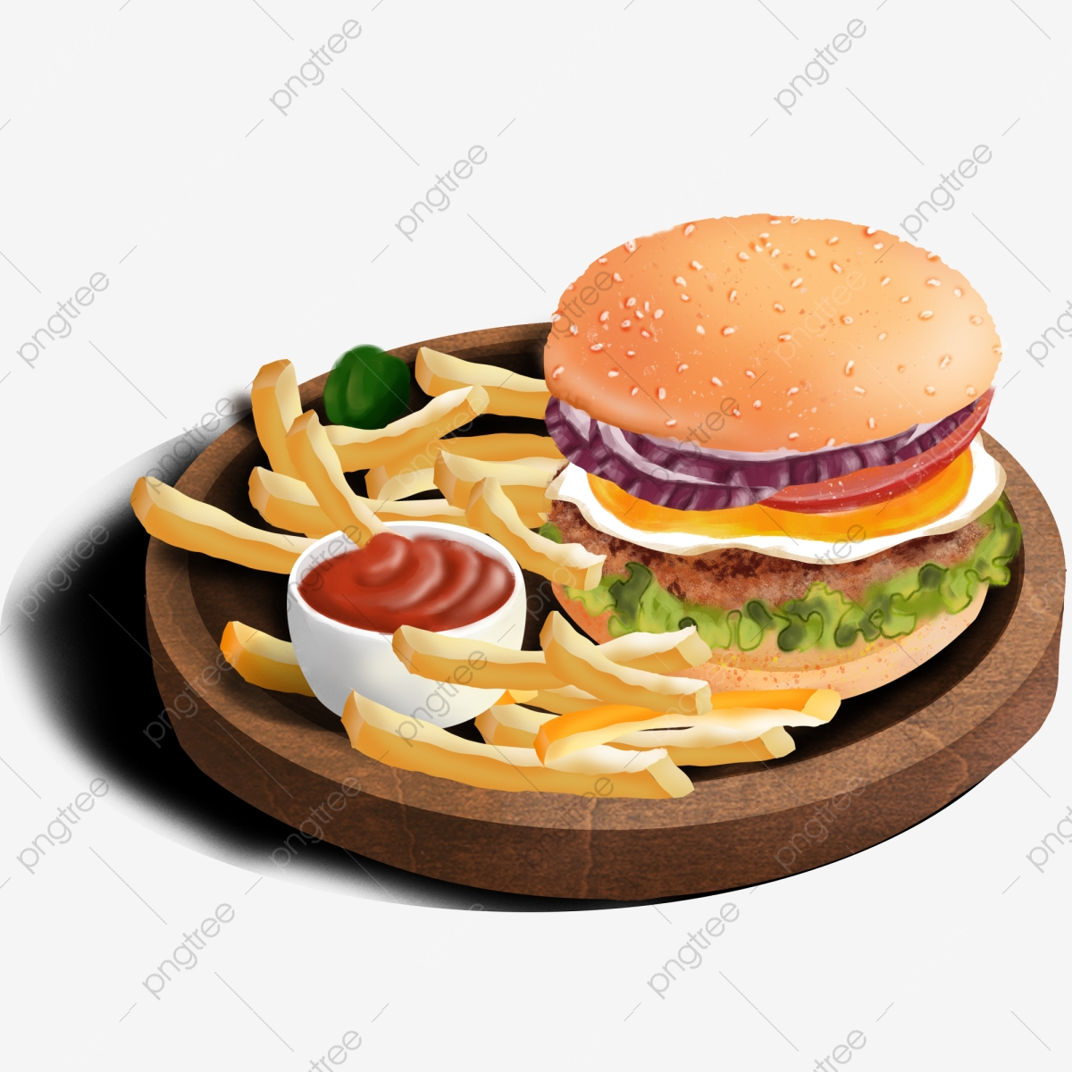 Burger And Fries, Burger Clipart, Fries Clipart, Element PNG.