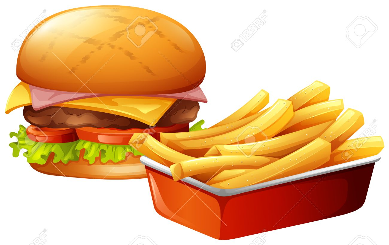 Cheeseburger and french fries illustration.
