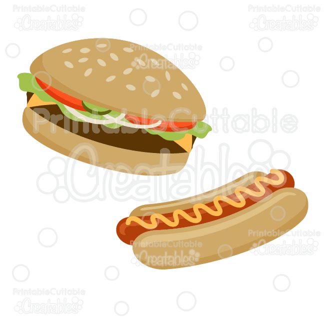 Hamburger & Hot Dog SVG Cut File & Clipart.