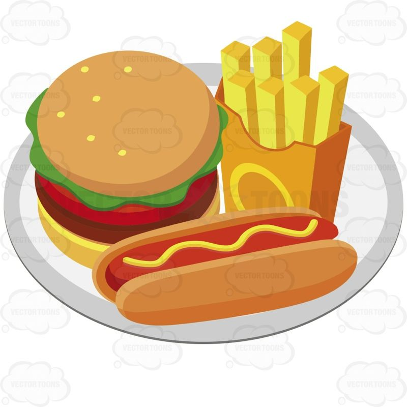 Plate With A Hamburger French Fries And A Hot Dog With.